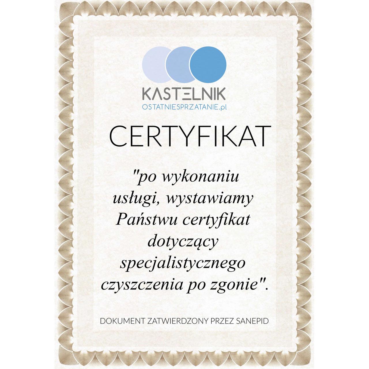 certyfikat firmy sprzątającej po zmarłych Kastelnik Ostatnie Sprzątanie